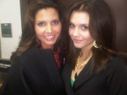 Charisma Carpenter & Alexandra Chando - Twitter Picture On Set of 'The Lying Game' 01-16-2012