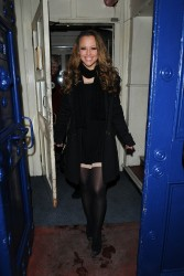 Kimberley Walsh Leaving the Theatre Royal in London 10th February x4